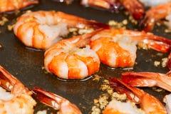 Camarão fritado no fim do frigideira acima Foto de Stock