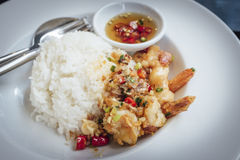 Camarão fritado, sal, pimenta com arroz Imagem de Stock