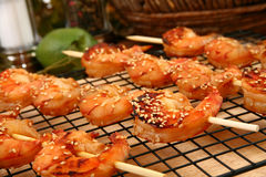 Camarão Kebabs de Teriyaki do gengibre fotografia de stock royalty free