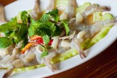 Camarão no molho de peixes Foto de Stock
