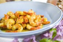 Camarão picante da pimenta do alho Foto de Stock Royalty Free