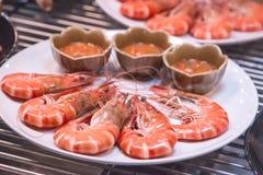 Camarão vermelho fervido e cozinhado quente Fotografia de Stock