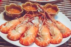 Camarão vermelho fervido e cozinhado quente Foto de Stock