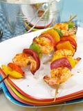 Camarão Zesty Kebabs Fotos de Stock Royalty Free