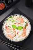 Camarón asiático Basil Chili Noodle Soup Foto de archivo libre de regalías