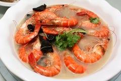 Camarón cocido al vapor cocina china Foto de archivo