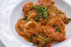 Camarón cocido al vapor con goma del curry Foto de archivo