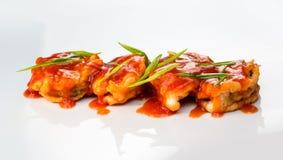 Camarón cocido con la salsa foto de archivo libre de regalías