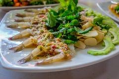 Camarón en salsa de pescados Imagenes de archivo