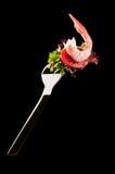 Camarón en una fork foto de archivo