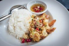 Camarón frito, sal, pimienta con arroz Imagen de archivo