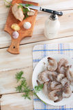 Camarón para cocinar con ajo y el jengibre Imágenes de archivo libres de regalías