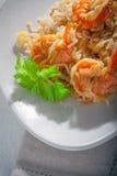 Camarón y arroz Fotos de archivo libres de regalías