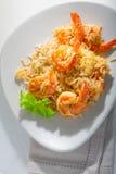 Camarón y arroz Imagen de archivo