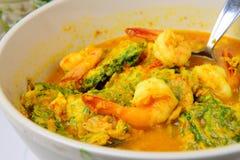 Camarón y Fried Egg Sour Soup tailandeses del nombre de la comida Imagen de archivo libre de regalías