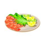 Camarões com salada e limão em uma placa Vetor Imagens de Stock Royalty Free