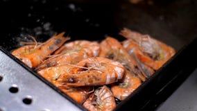 Camarões do rei com mentira doce deliciosa do molho na frigideira grande vídeos de arquivo