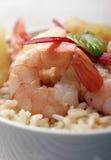 Camarões e arroz Imagens de Stock