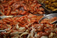 Camarões e caranguejos frescos Fotos de Stock Royalty Free