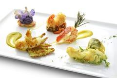 Camarões Fried Grilled Braised Tempura Kataifi do gosto do prato de peixes Imagens de Stock