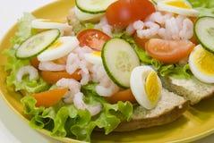Camarões no pão Foto de Stock