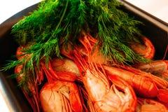 Camarões vermelhos, close up delicioso, fervido Fotografia de Stock