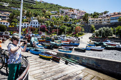 Camara de Lobos is a fishing village near the city of Funchal and has some of the highest cliffs in the world Stock Photography