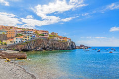 Camara de Lobos harbor, Madeira with fishing boats Royalty Free Stock Photography