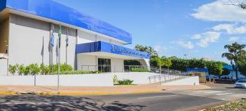 Camara Municipal de Campo Grande. Campo Grande, Brazil - Junho 25, 2018: New blue facade of the front of the Camara Municipal de Campo Grande. Legislative body Stock Photography