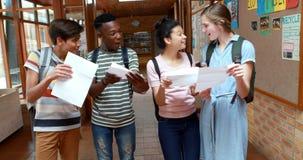 Camarades de classe heureux regardant des cartes de catégorie dans le couloir banque de vidéos