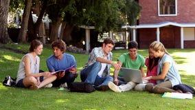 Camarades de classe s'asseyant sur la causerie d'herbe banque de vidéos