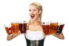 Camarera atractiva joven de Oktoberfest, llevando un vestido bávaro tradicional, tazas de cerveza grandes de servicio aisladas en Fotos de archivo libres de regalías