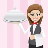 Camarera linda de la historieta con la bandeja de la comida Imágenes de archivo libres de regalías
