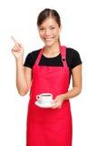 Camarera que señala el café de la explotación agrícola Foto de archivo libre de regalías