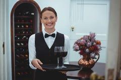 Camarera sonriente que sostiene una bandeja con los vidrios de vino rojo Imagen de archivo