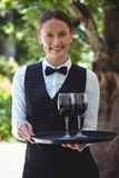 Camarera sonriente que sostiene una bandeja con los vidrios de vino rojo Fotos de archivo