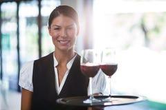 Camarera sonriente que sostiene una bandeja con los vidrios de vino rojo Foto de archivo