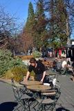 Camarero Cleans Table en la ciudad turística popular de las primaveras de Hanmer Foto de archivo libre de regalías