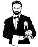 Camarero con Champagne Glass Fotos de archivo
