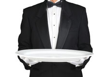 Camarero con la bandeja blanca grande Imagen de archivo libre de regalías