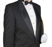 Camarero con la bandeja de la porción debajo del brazo Imagen de archivo libre de regalías