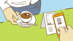 Camarero With Cup Of Cofee de la historieta y visitante que explora código de QR de la tarjeta con el teléfono móvil Fotografía de archivo
