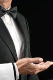 Camarero de cena fino, mano abierta, vista lateral Foto de archivo