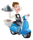 Camarero de la historieta en el ciclomotor de la vespa que entrega la comida Imágenes de archivo libres de regalías