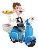 Camarero de la historieta en el ciclomotor de la vespa que entrega la pizza Imágenes de archivo libres de regalías