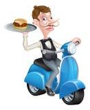 Camarero de la historieta en el ciclomotor de la vespa que sostiene la hamburguesa Imagen de archivo libre de regalías