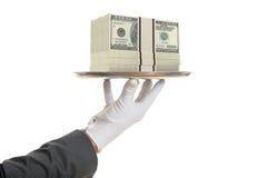 camarero de la representación 3d que ofrece 100 billetes de banco del dólar stock de ilustración