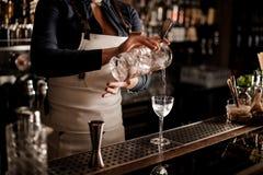 Camarero de sexo femenino que vierte una bebida alcohólica del g de medición foto de archivo