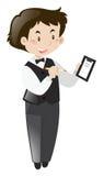 Camarero de sexo masculino que toma orden stock de ilustración