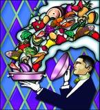 camarero del art déco Stock de ilustración